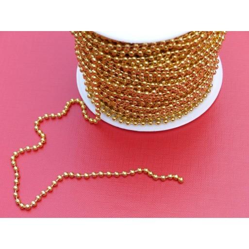 Łańcuszek kulkowy złoty - 3,2 mm na metry 50mb