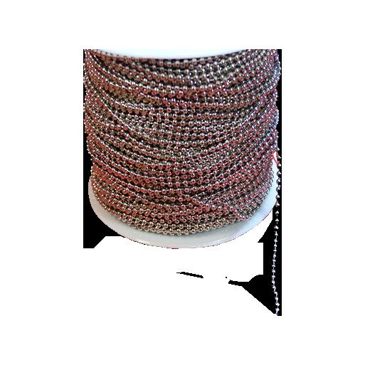 Srebrny łańcuszek kulkowy do identyfikatorów 2,4 mm